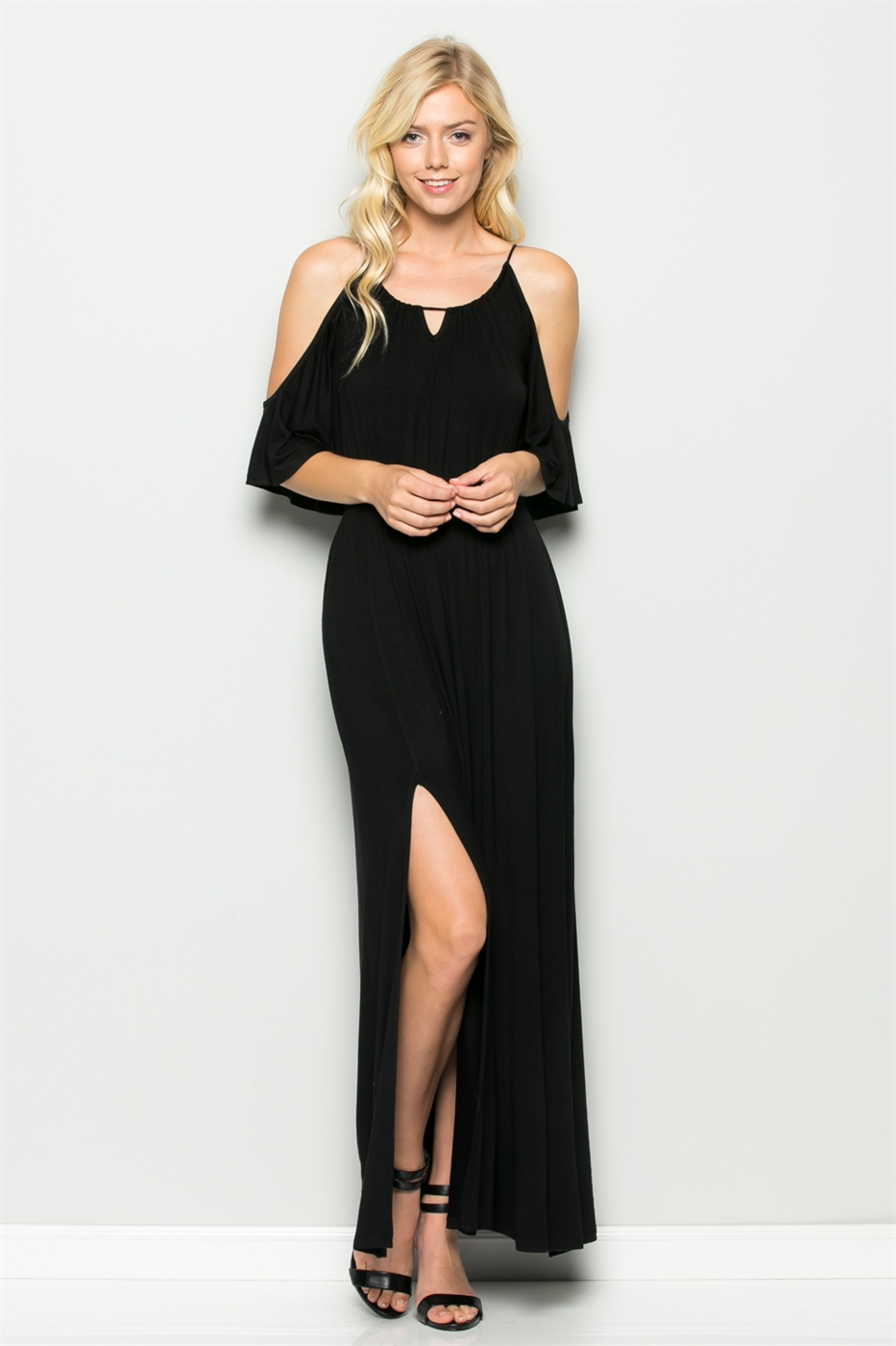 FRONT SLIT MAXI DRESS - orangeshine.com