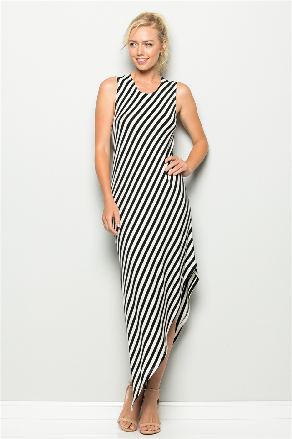 ASYMMETRICAL STRIPE MAXI DRESS - orangeshine.com