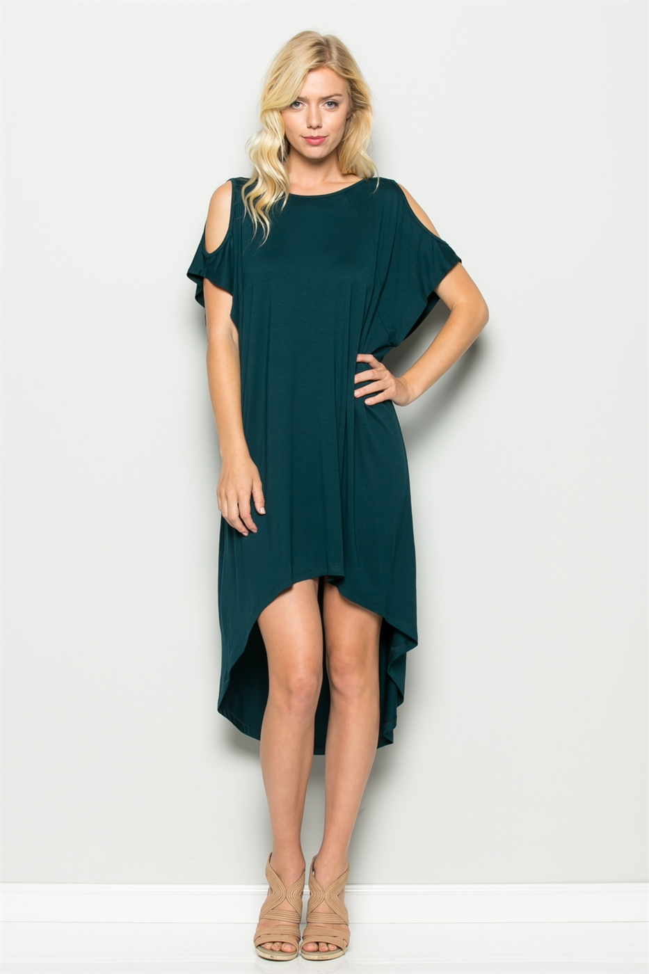 COLD SHOULDER HI-LOW DRESS - orangeshine.com