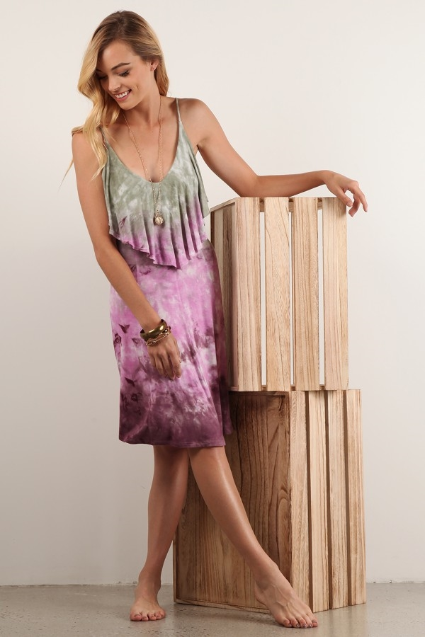 Tie Dye ruffled Dress - orangeshine.com