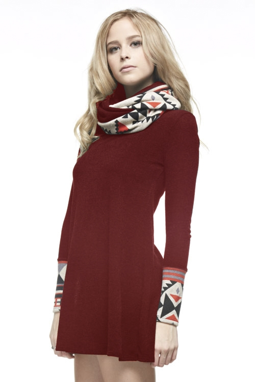 Neck Warmer Knit Dress - orangeshine.com