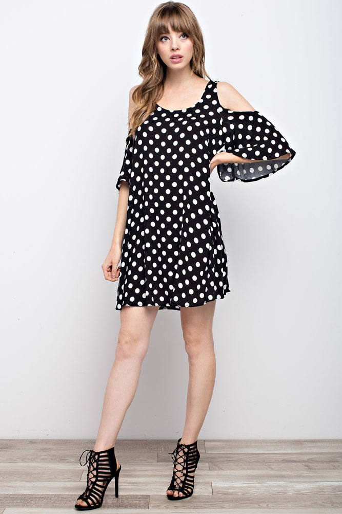 Polka Dot Open-Shoulder Dress - orangeshine.com