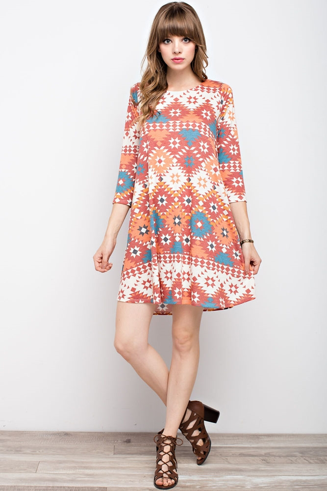 TRIBAL PRINT POCKET DRESS - orangeshine.com