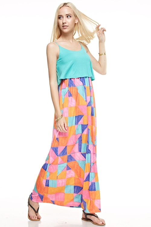 geometric aztec maxi dress - orangeshine.com