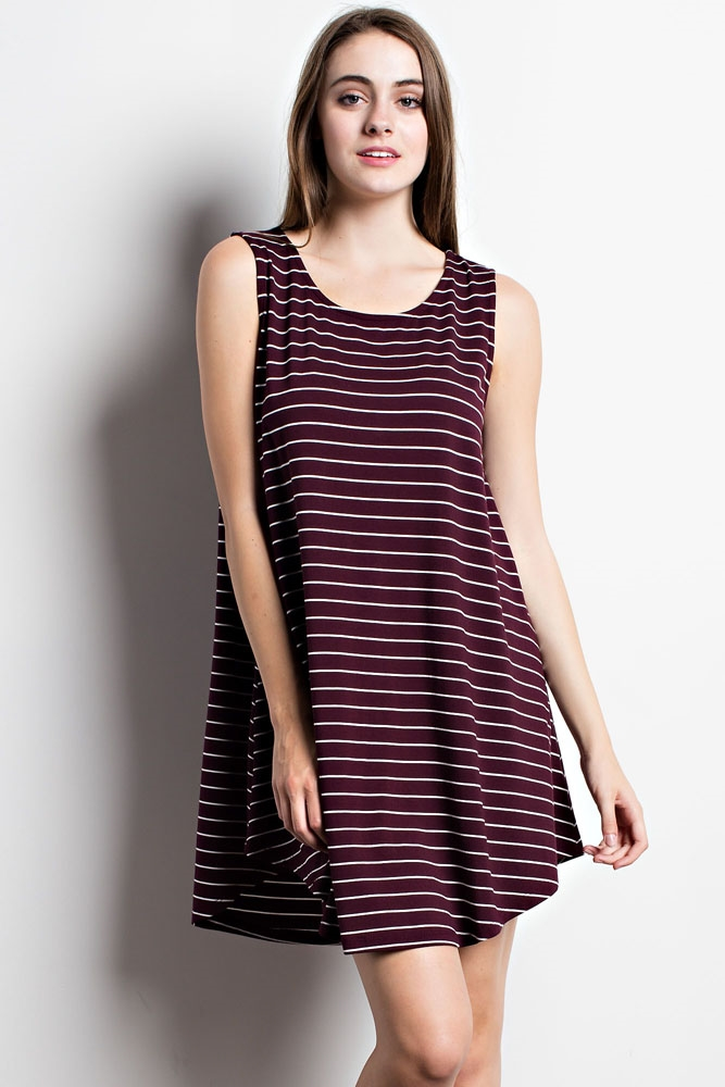 THICK STRIPED SWING DRESS - orangeshine.com