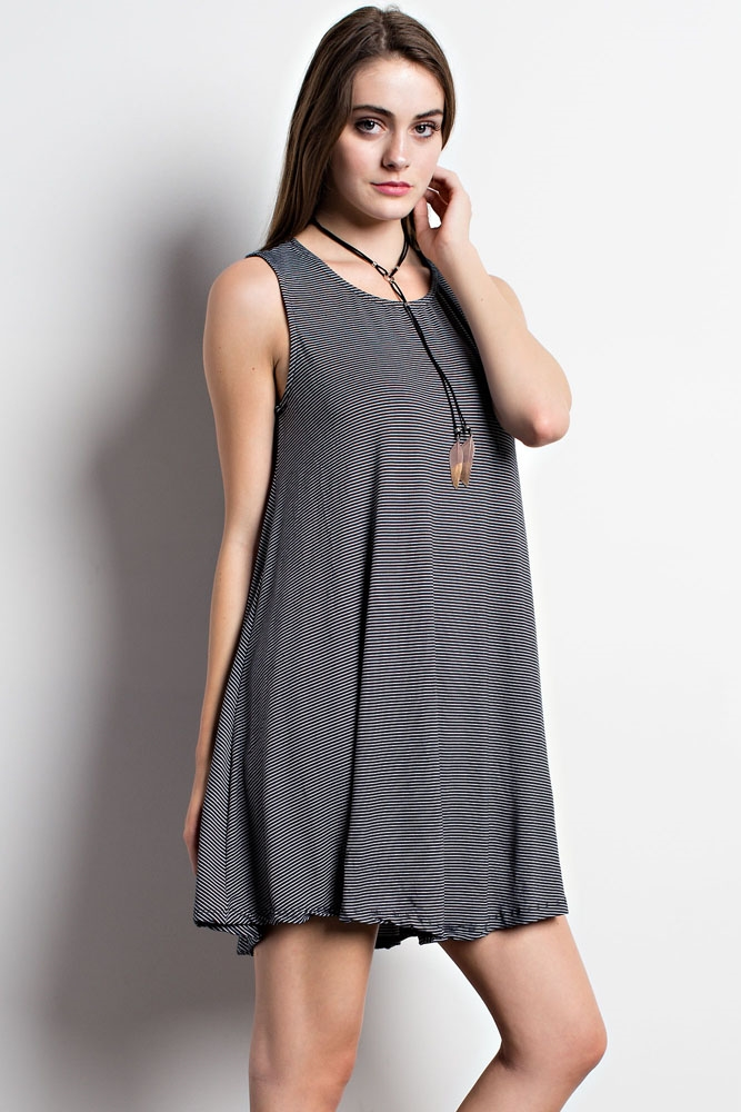 Thin Striped Swing Dress - orangeshine.com