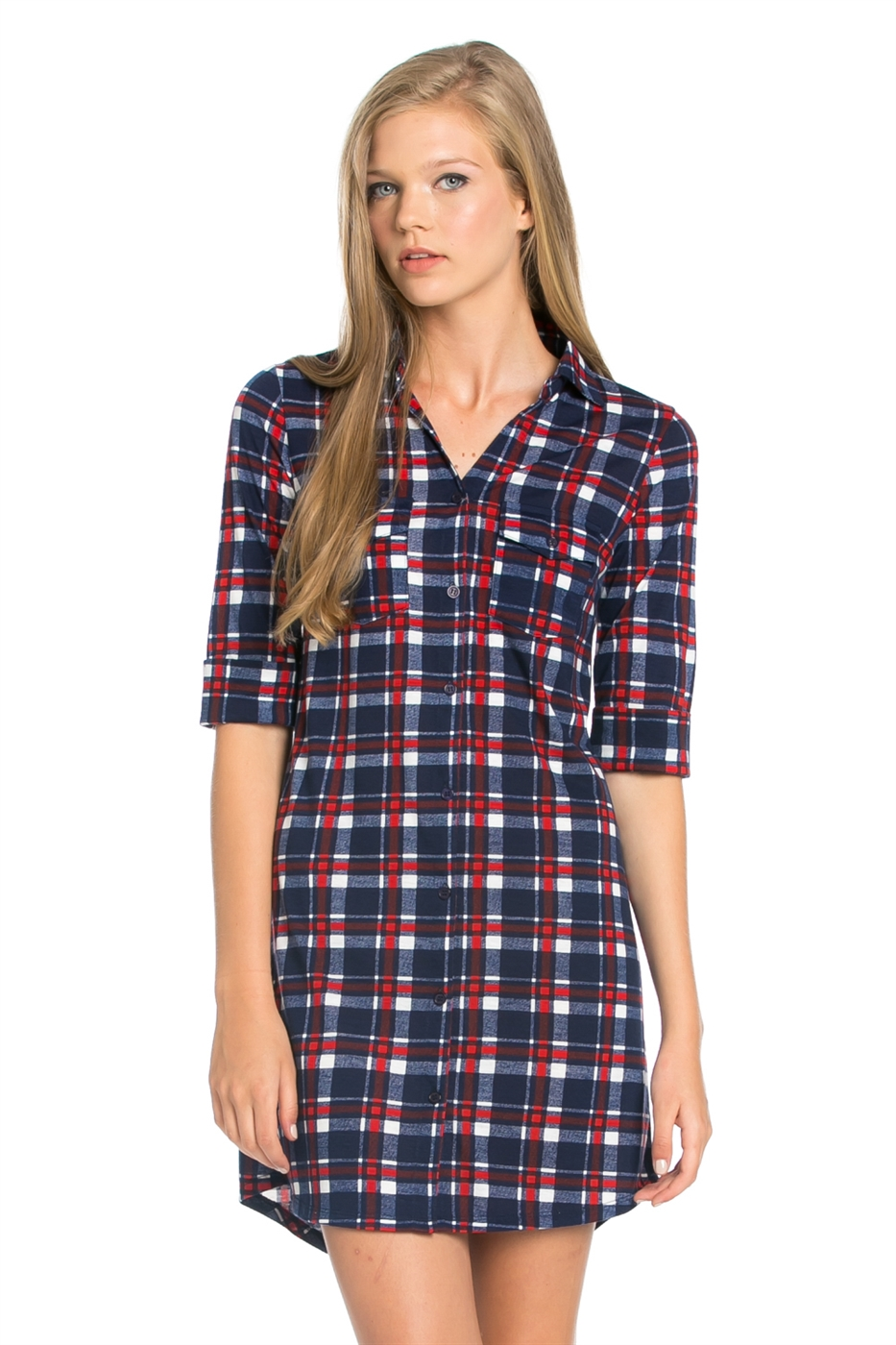 CHECKER SHIRTS DRESS - orangeshine.com