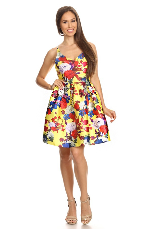 floral spaghetti strap dress - orangeshine.com