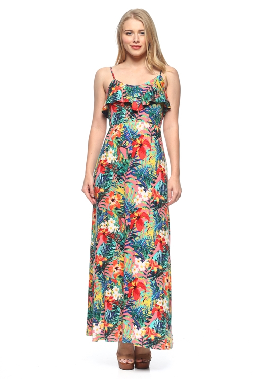 FLORAL MAXI DRESS - orangeshine.com