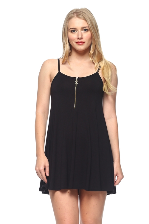 SLEEVELESS DRESS WITH ZIPPER - orangeshine.com