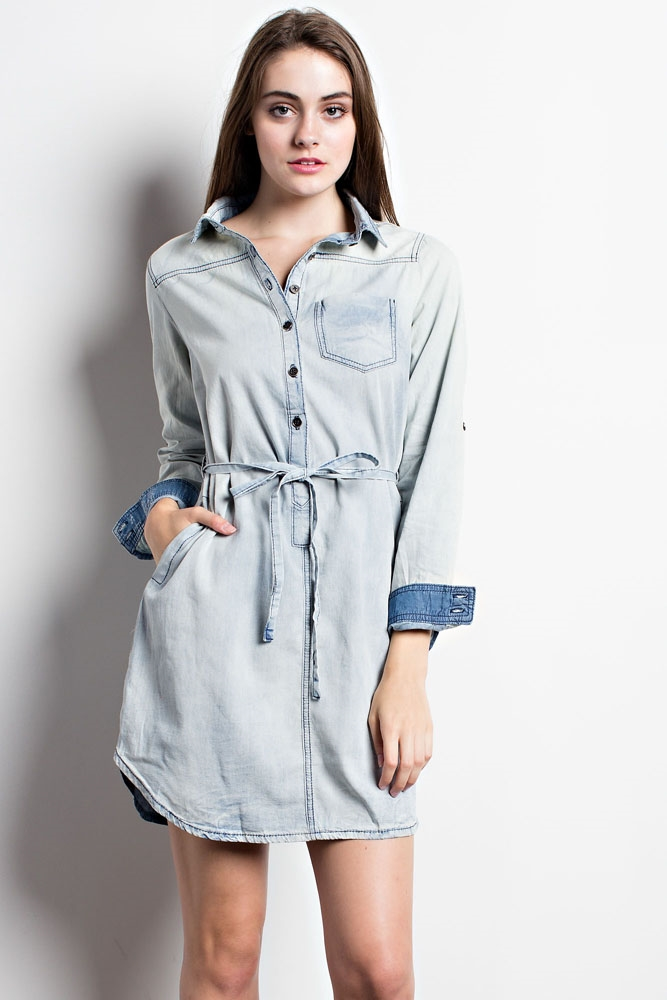 WESTERN DENIM SHIRT DRESS - orangeshine.com
