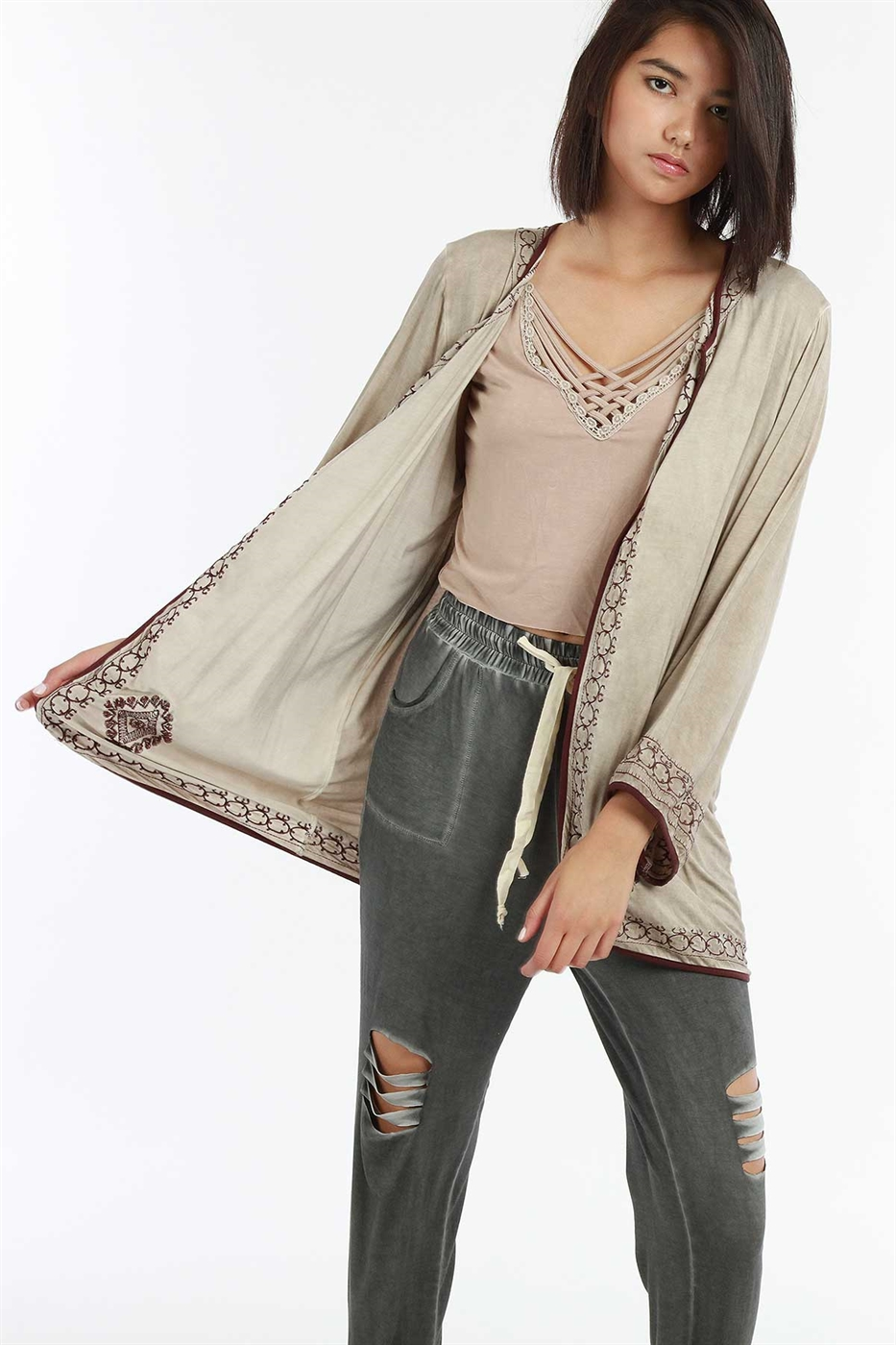 Boho embroidered cardigan - orangeshine.com