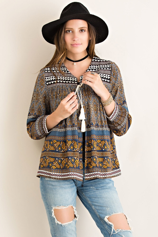 Multi-Print Peasant Jacket - orangeshine.com