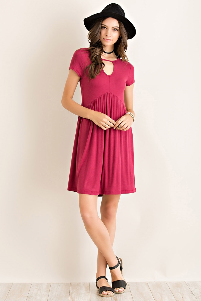 Solid Babydoll Cutout Dress - orangeshine.com