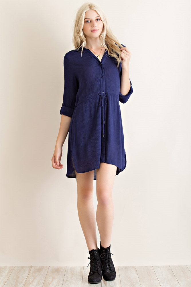 Solid Button Down Dress - orangeshine.com