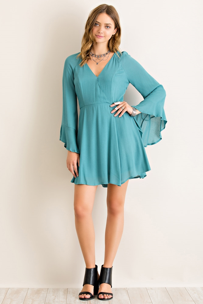 Solid Snap Button Flare Dress - orangeshine.com