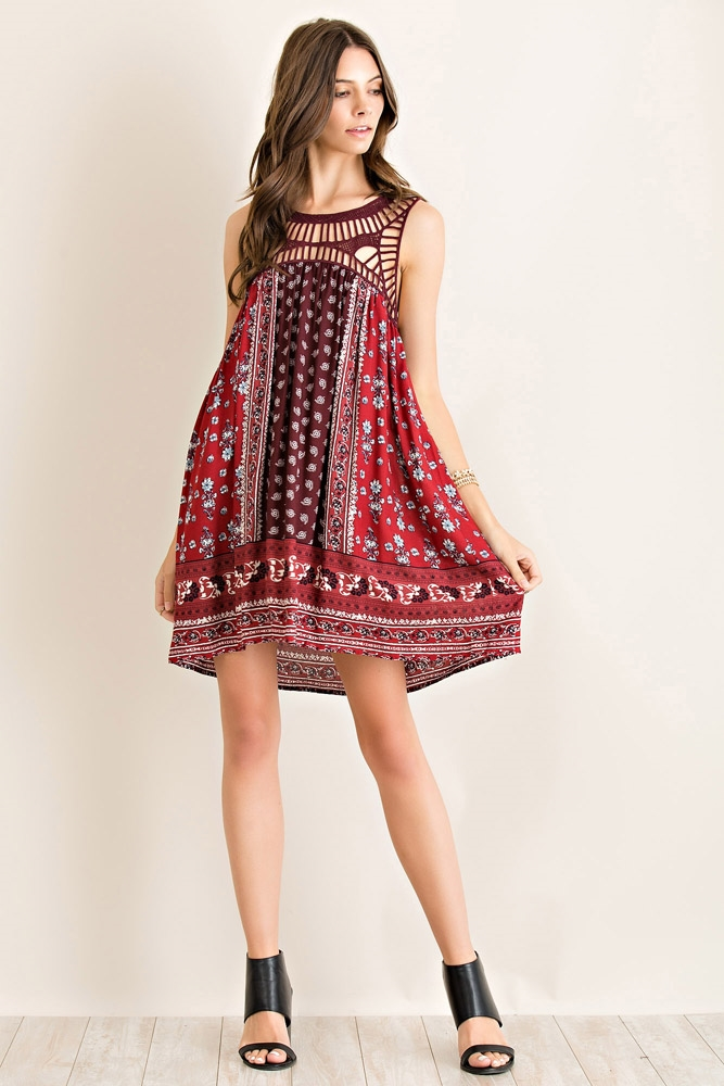 Printed High-Low Style Dress - orangeshine.com