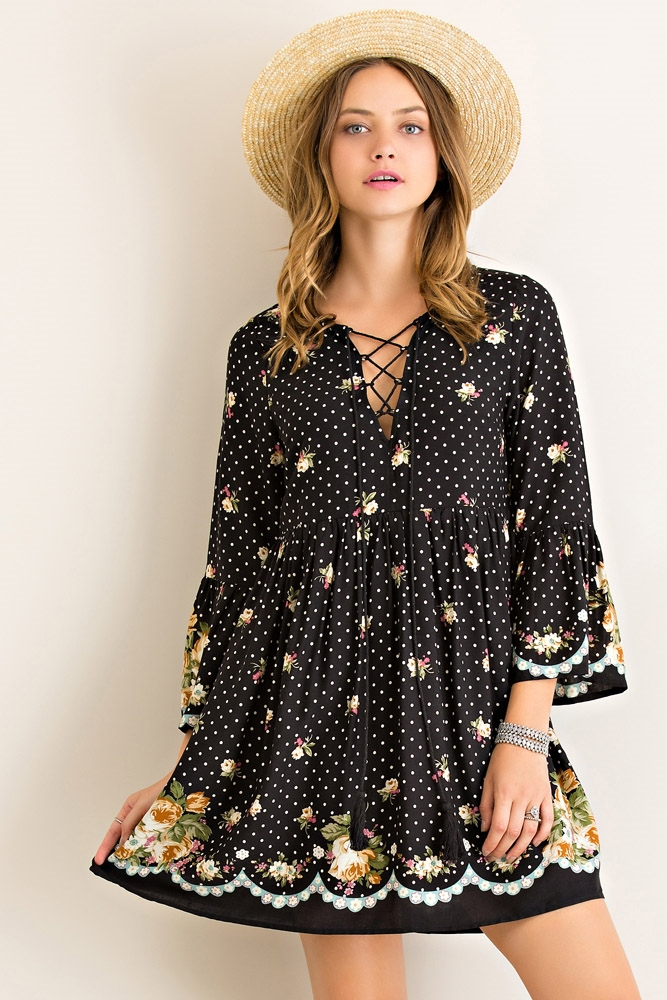 Polka Dot Floral Print Dress - orangeshine.com