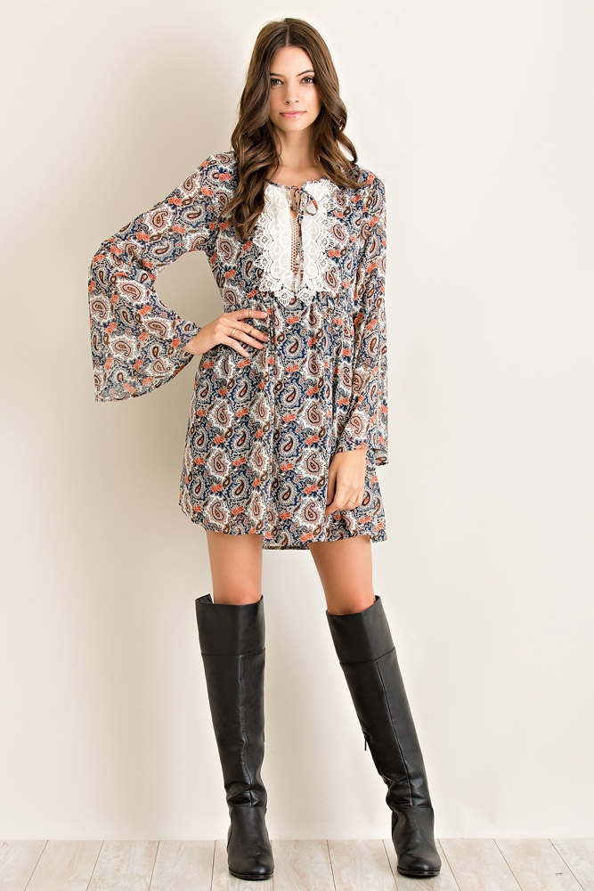 Paisley Print Babydoll Dress - orangeshine.com