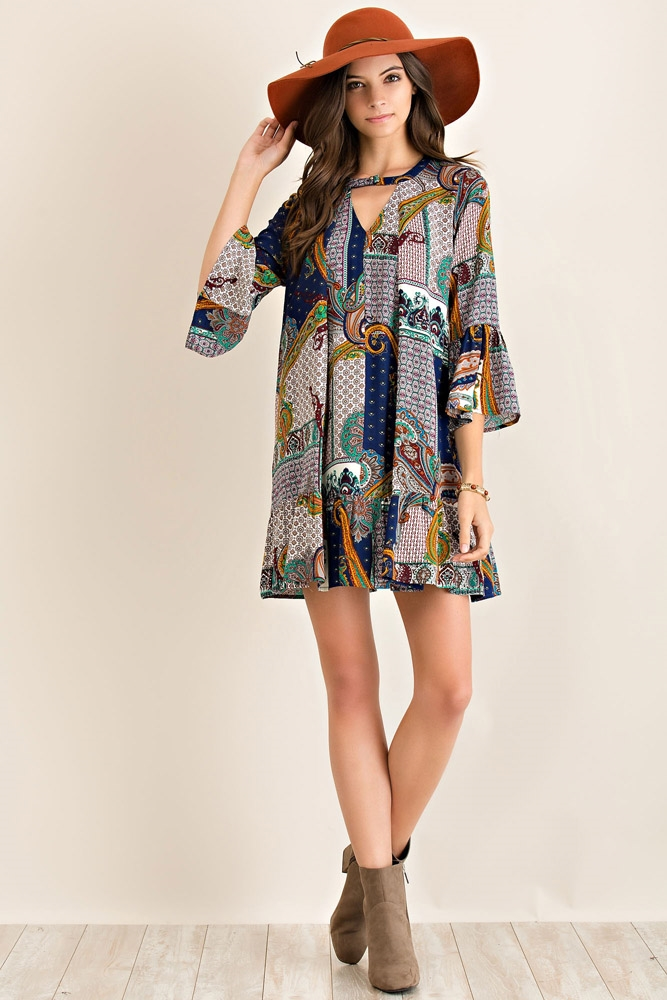 Paisley Patchy Print Dress - orangeshine.com