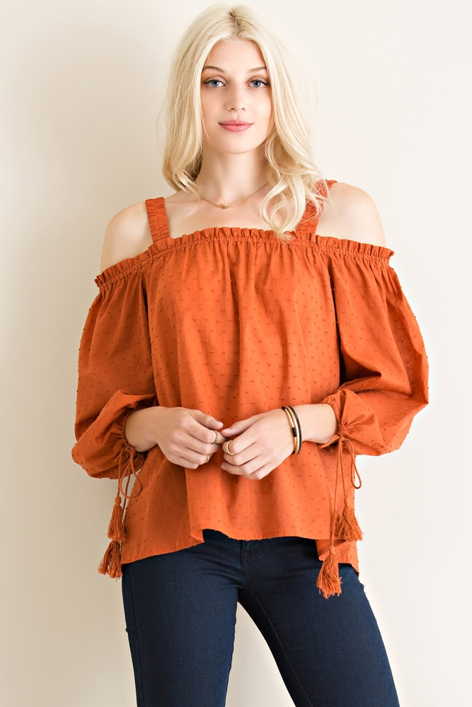 Textured Edge Off Shoulder Top - orangeshine.com
