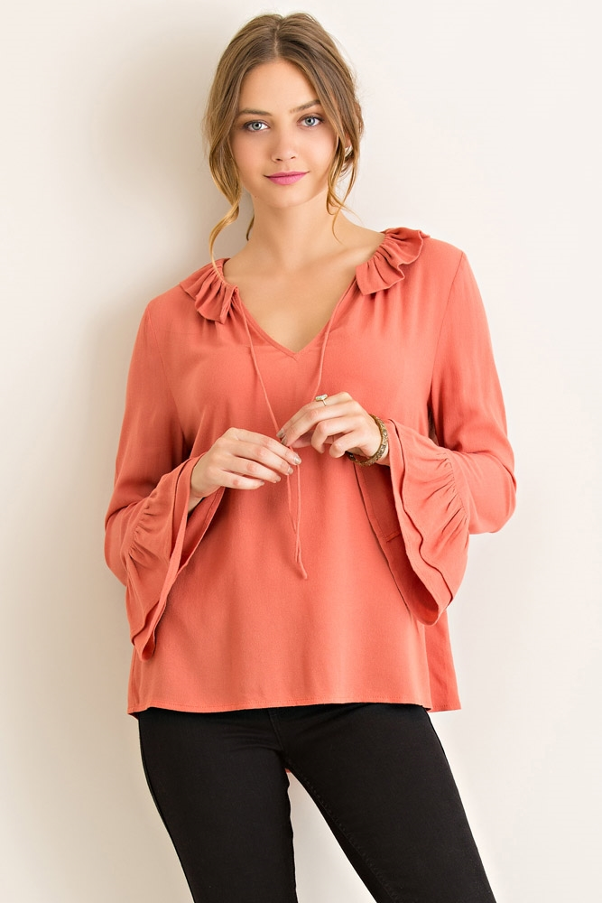 Solid Long Sleeve Top - orangeshine.com