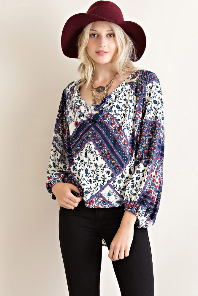 Mix Floral Long Sleeve Top - orangeshine.com
