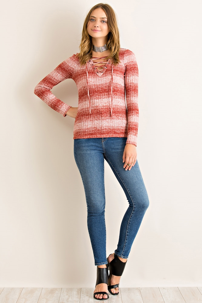 Striped Marled Long Sleeve Top - orangeshine.com
