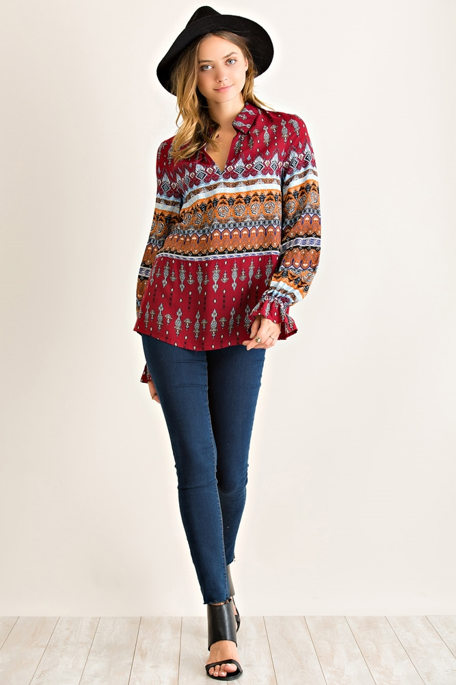 Paisley Printed Tunic Top - orangeshine.com