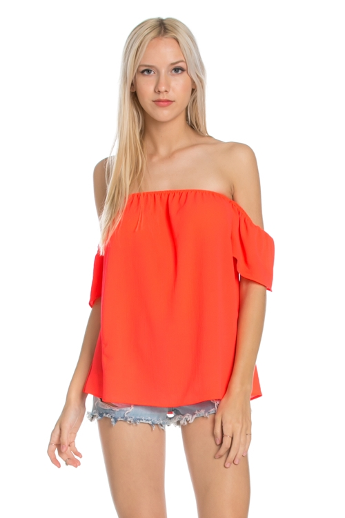 SHORT SLEEVES OFF SHOULDER TOP - orangeshine.com