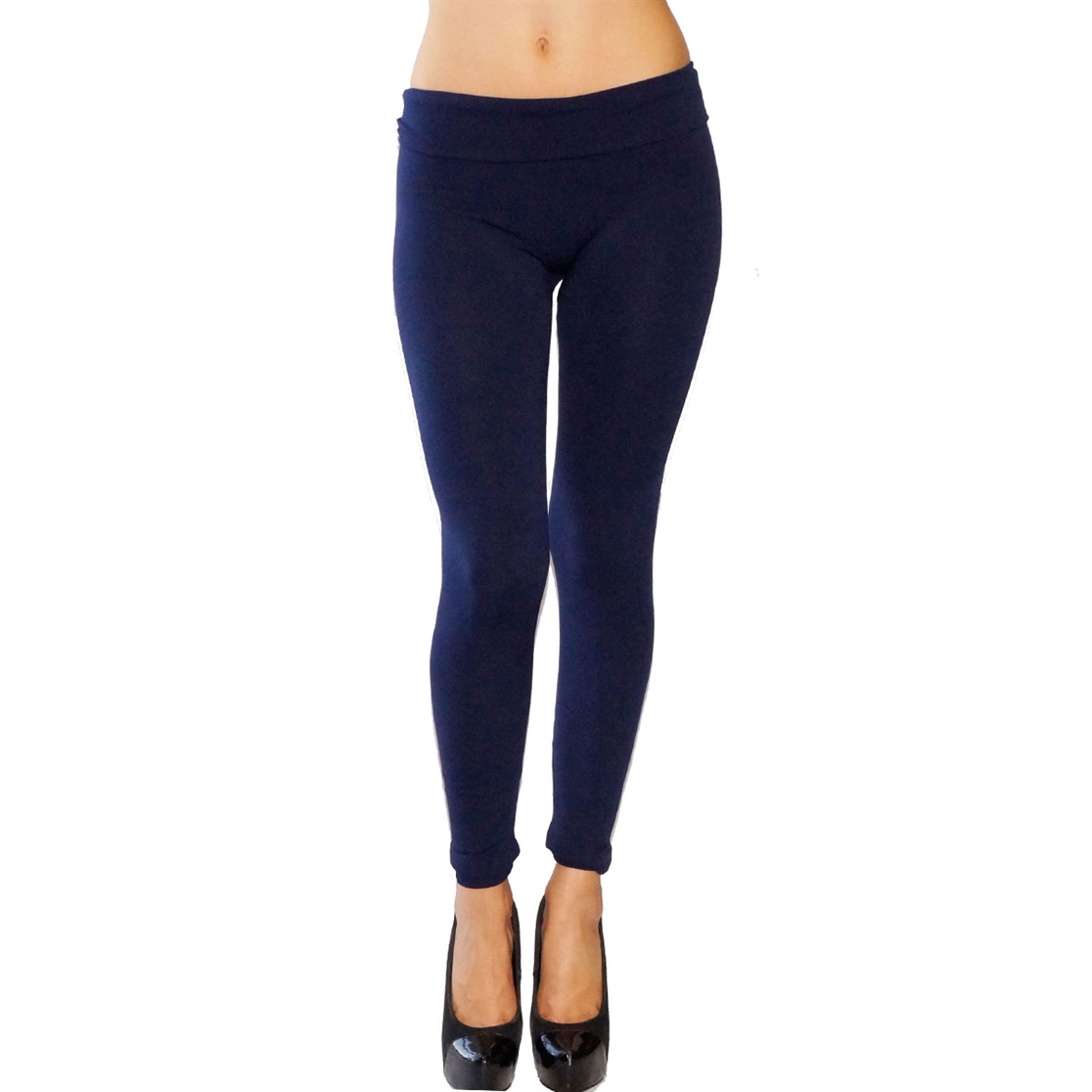 NAVY SOLID LEGGINGS PLUS - orangeshine.com