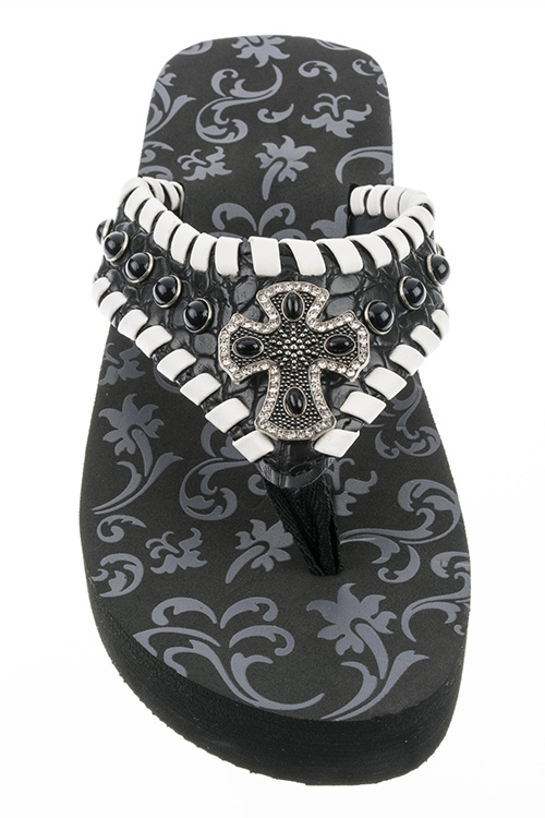 Ornate Cross Leather FlipFlops - orangeshine.com