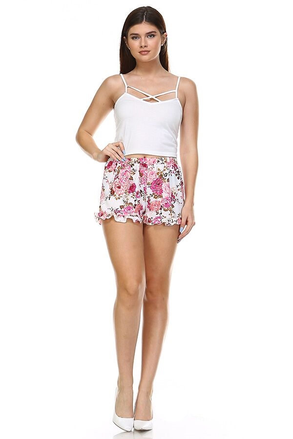 Floral Frenzy Shorts - White - orangeshine.com