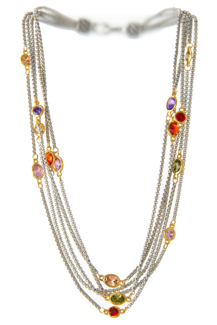 CZ MULTI ROW NECKLACE - orangeshine.com