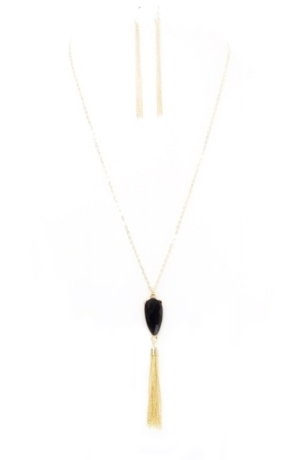 Black Tassel Necklace - orangeshine.com