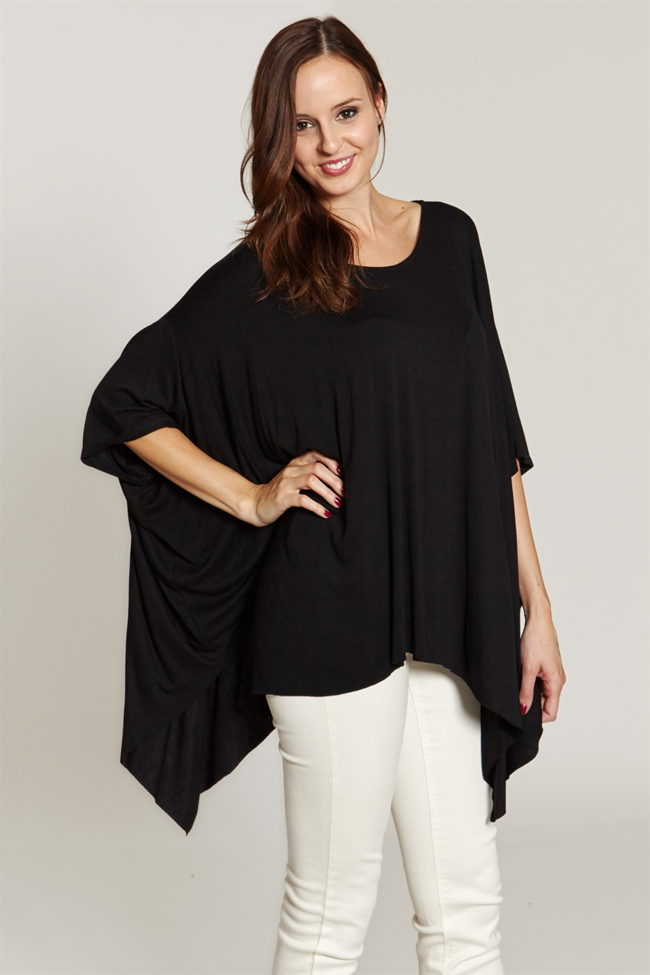 SOLID KNIT ASYMMETRICAL TOP - orangeshine.com