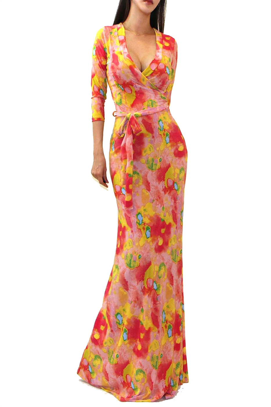 COLORFUL TIE DYE MAXI DRESS - orangeshine.com