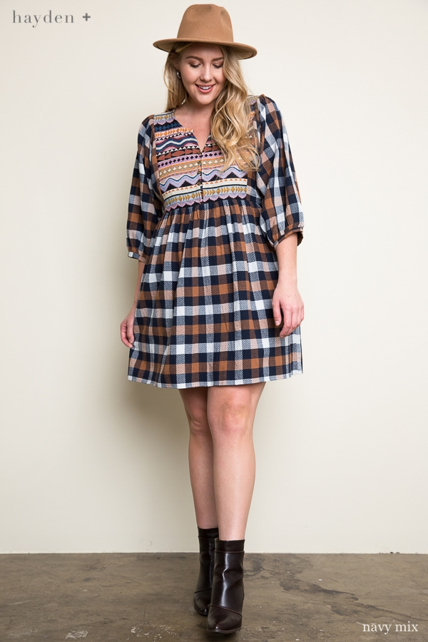 Plaid Baby Doll Dress - orangeshine.com