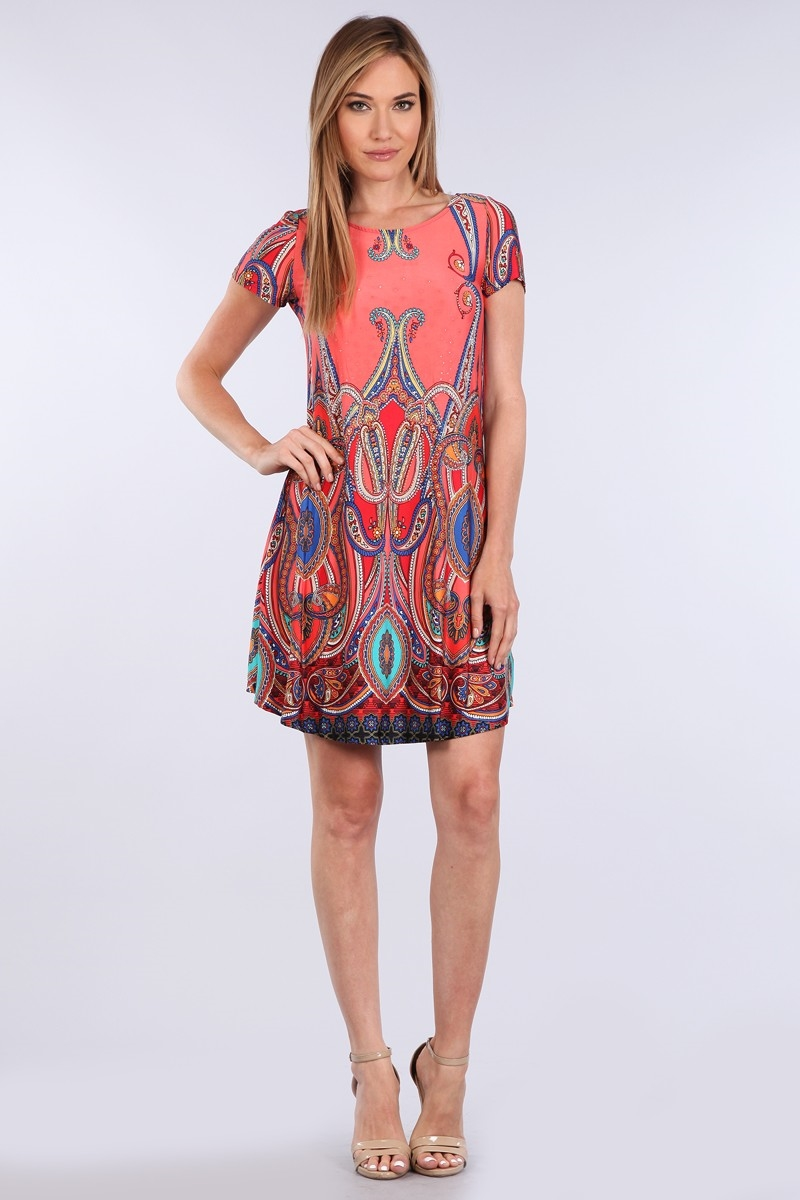 PRINT SWING DRESS W/ STONE - orangeshine.com