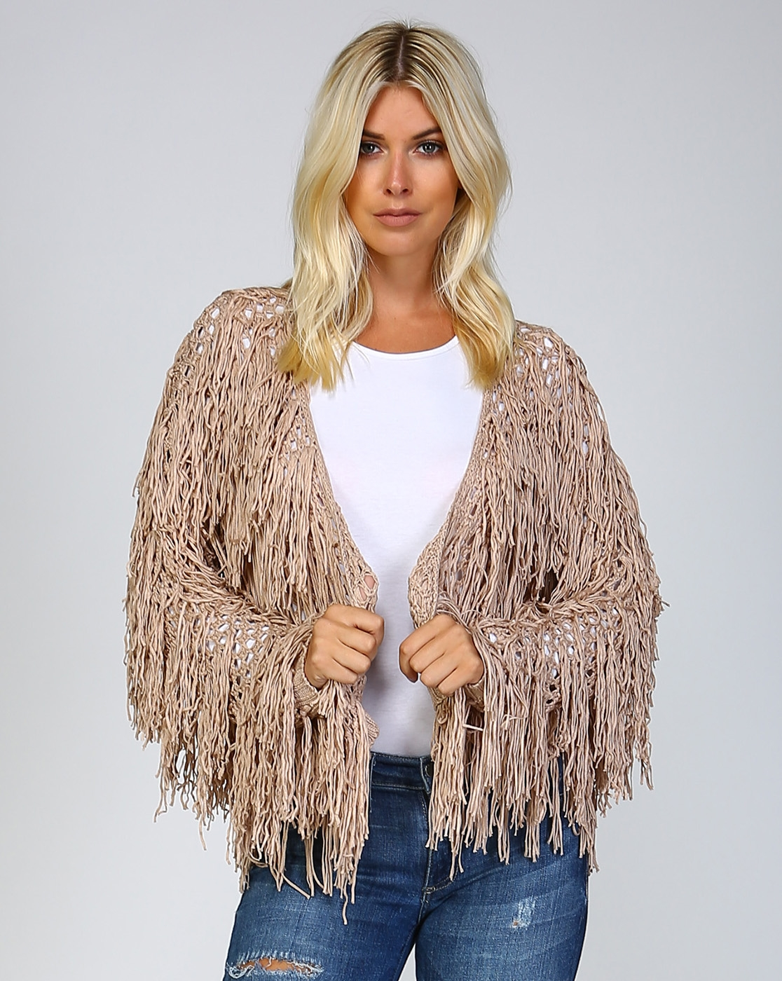 LOOSE KNIT FRINGED CARDIGAN - orangeshine.com