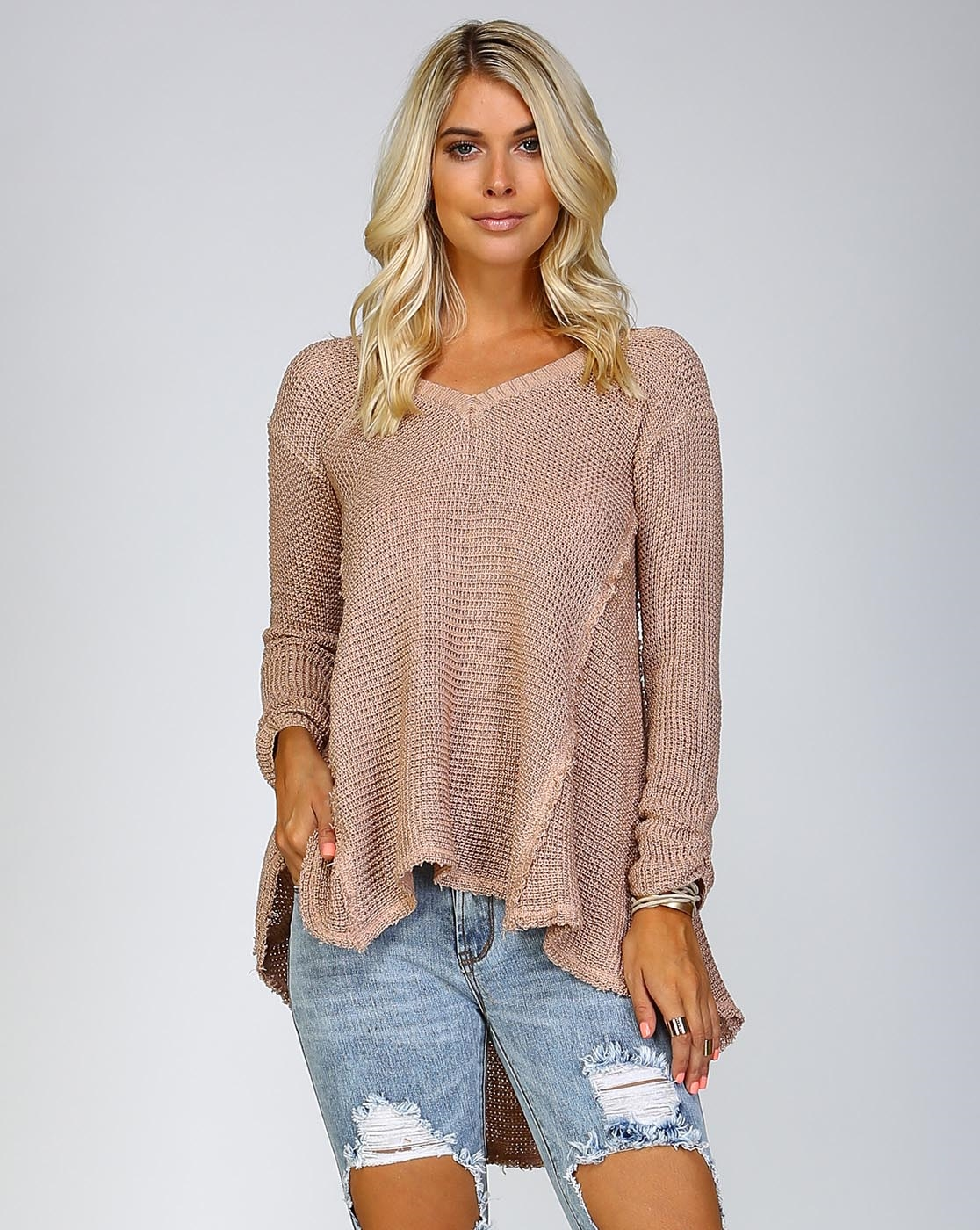 FLARED OPEN SHOULDER SWEATER - orangeshine.com