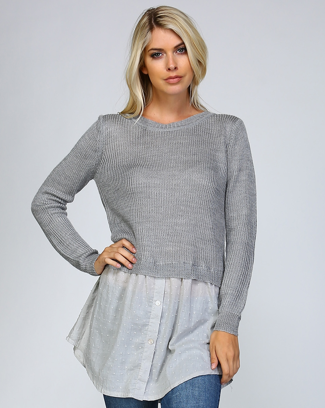 MOCK BLOUSE KNIT SWEATER - orangeshine.com
