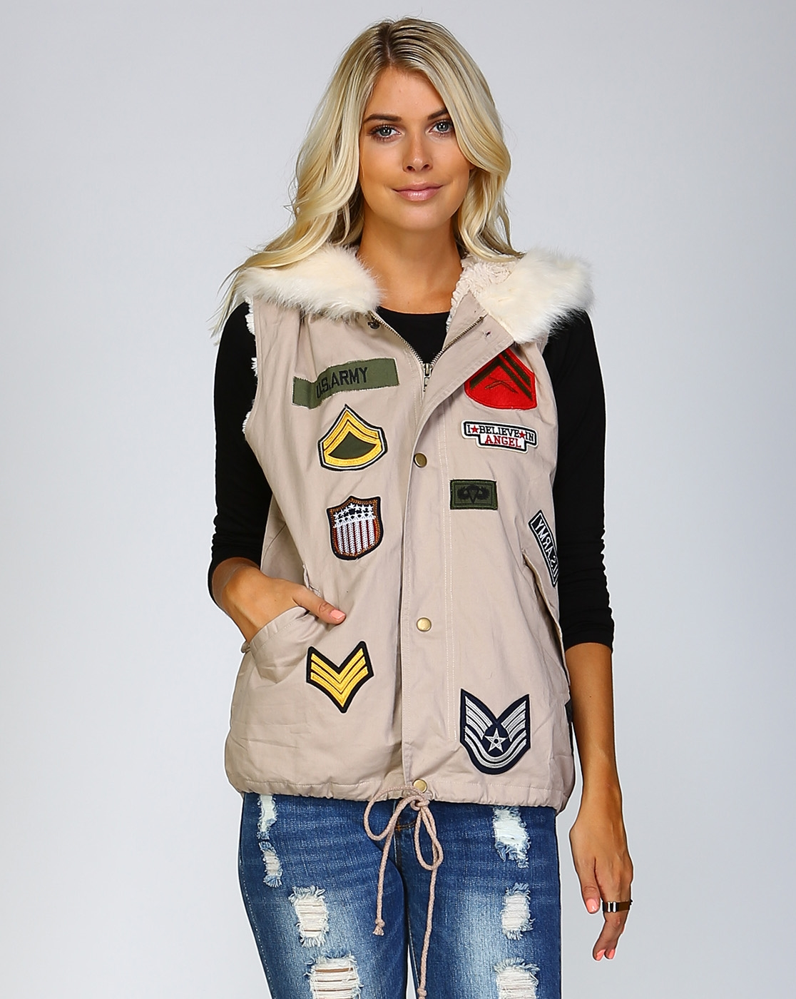 FUR LINED MILITARY HOODIE VEST - orangeshine.com