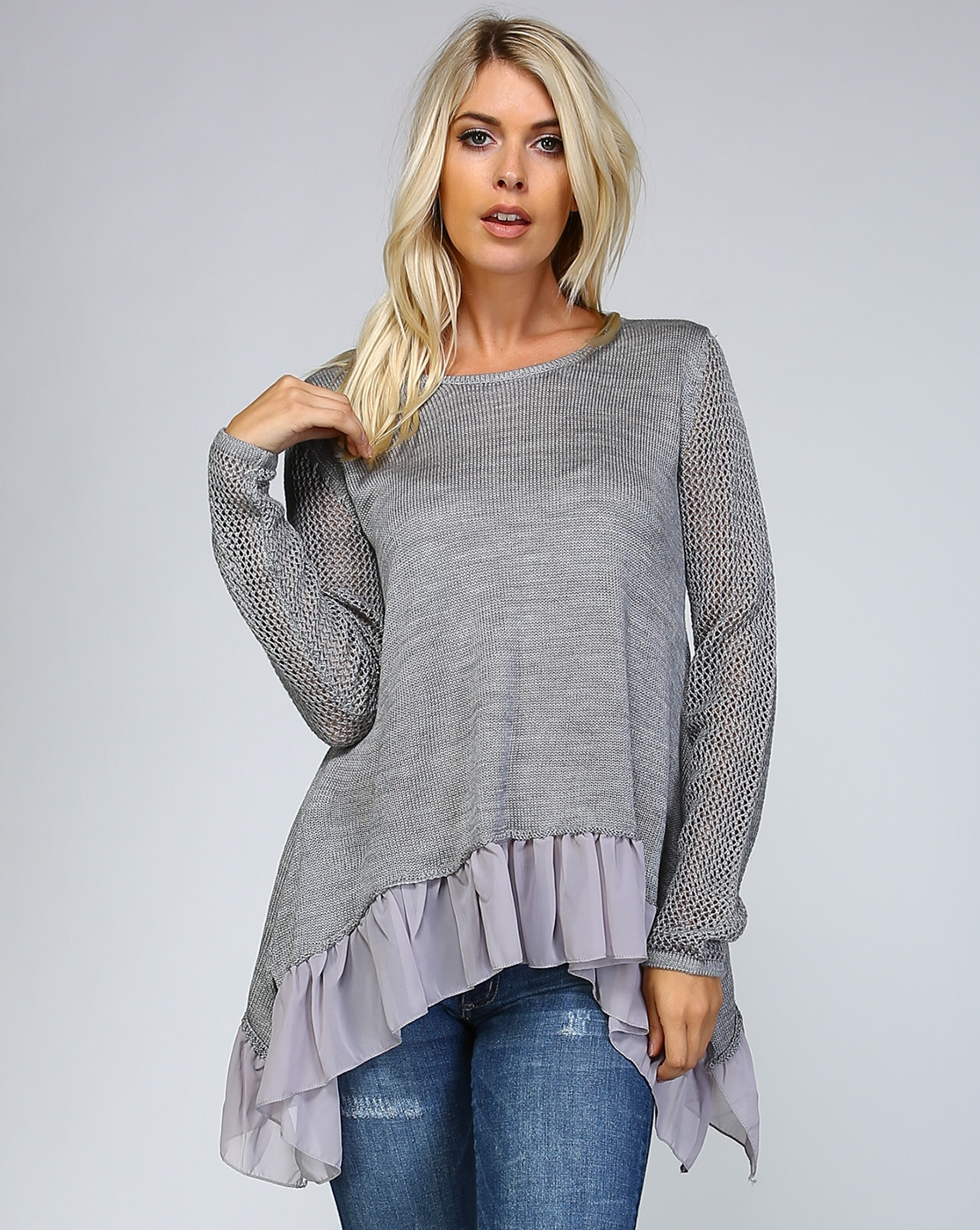 RUFFLE KNIT CROCHET SWEATER - orangeshine.com