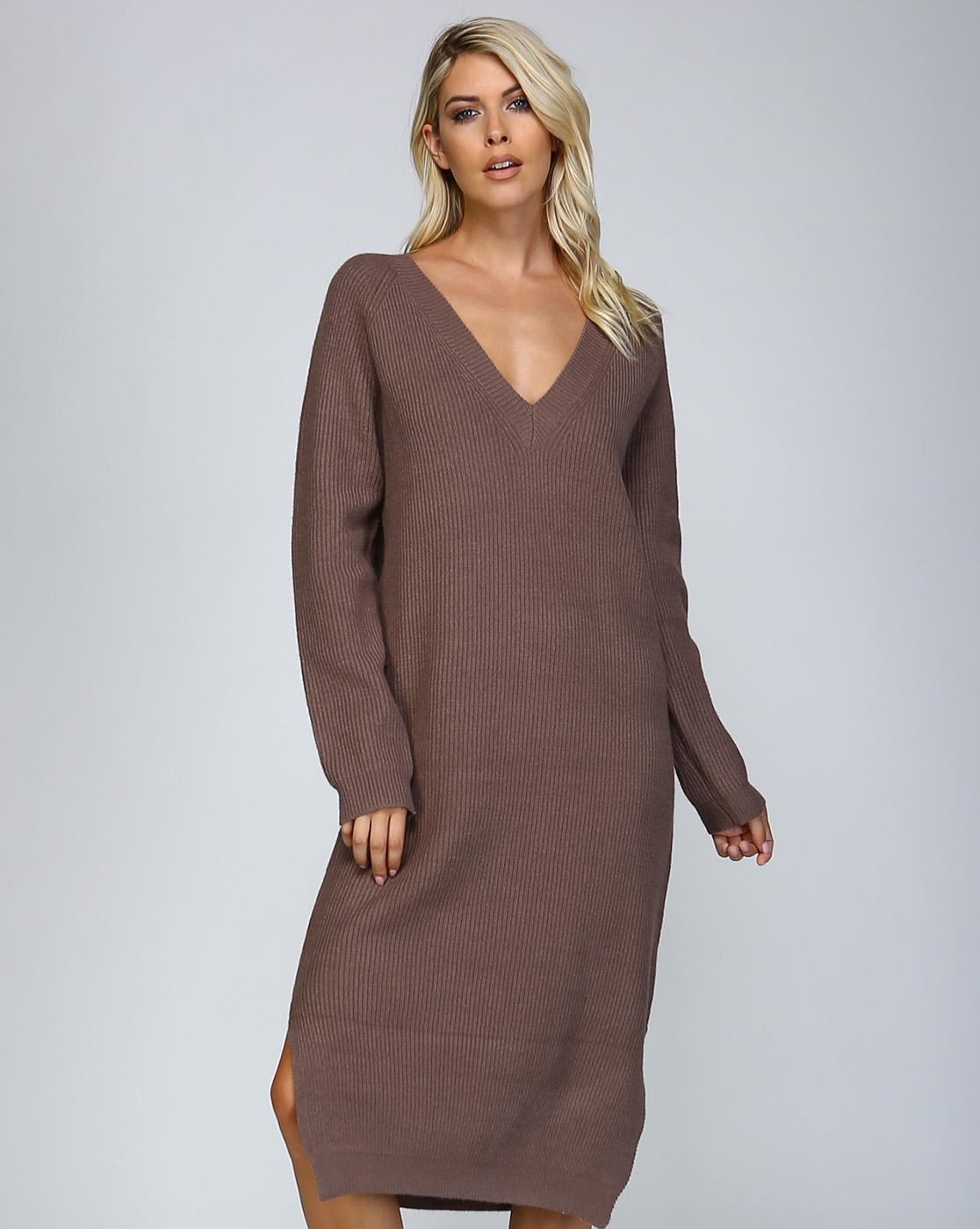 KNIT V NECK SWEATER DRESS - orangeshine.com