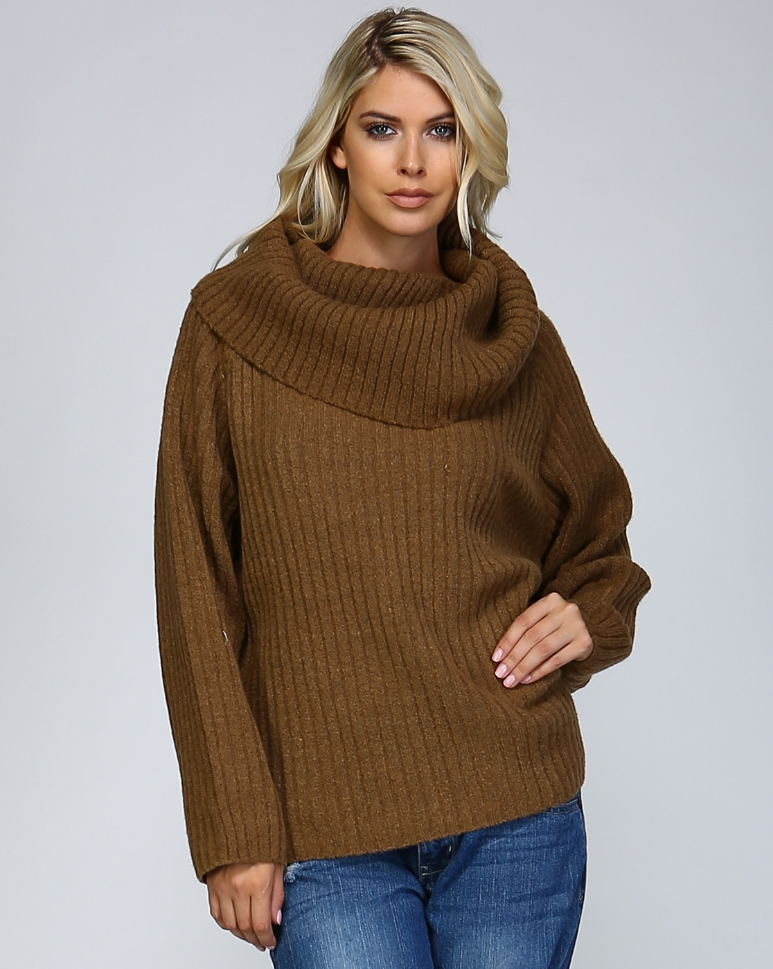 LISTICLE Wholesale Chunky Rib Cowl Neck Sweater | Orangeshine.com