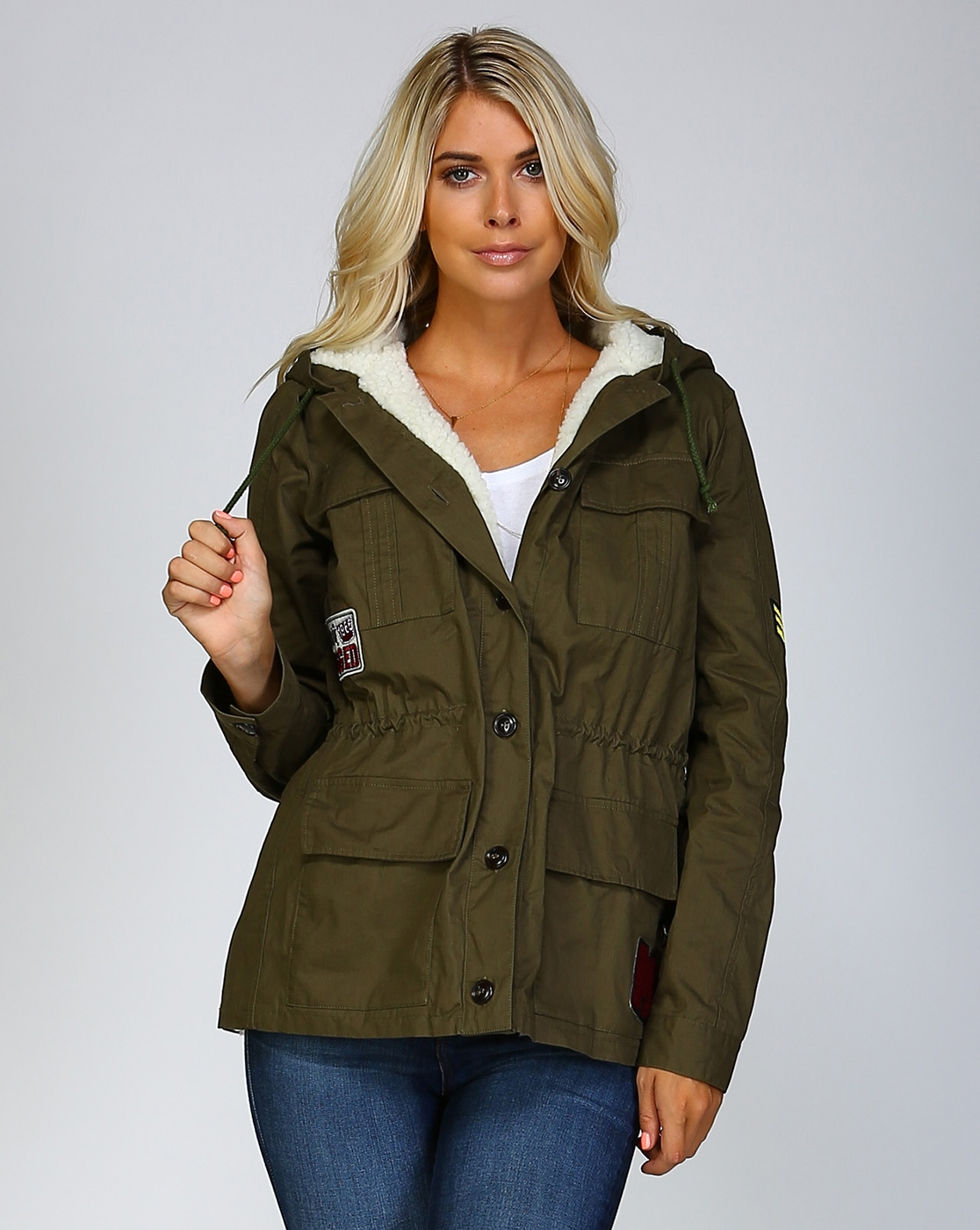 FUR LINED MILITARY HOOD JACKET - orangeshine.com