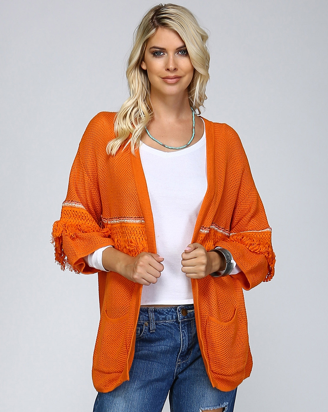 FRINGE AND BRAID TRIM CARDIGAN - orangeshine.com