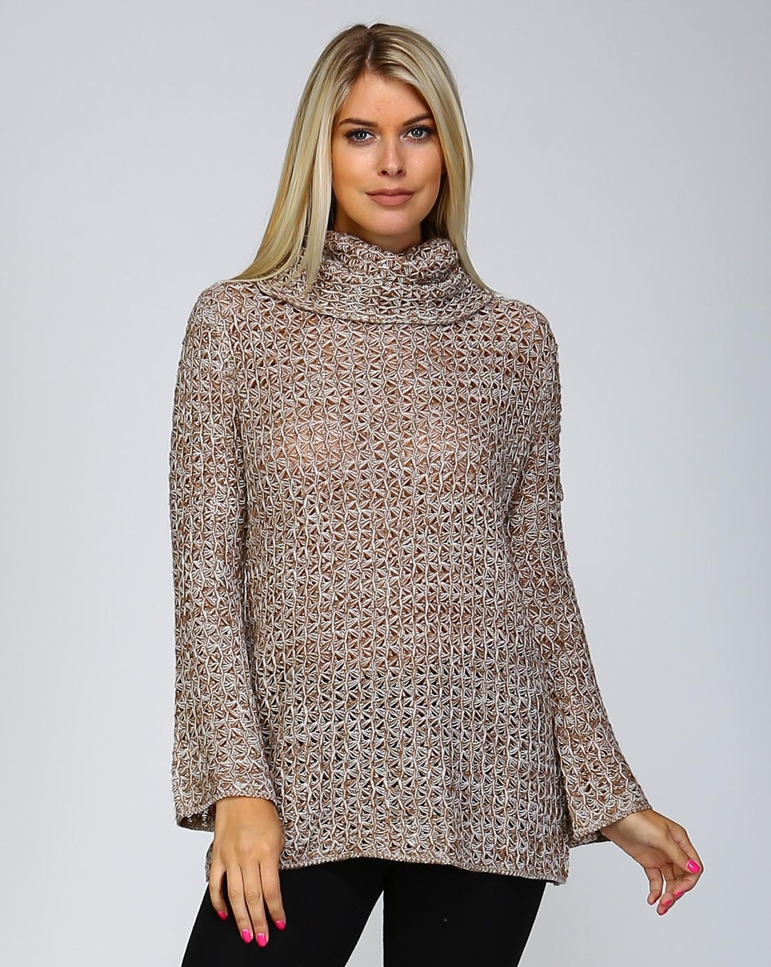 LOOSE KNIT COWL NECK SWEATER - orangeshine.com