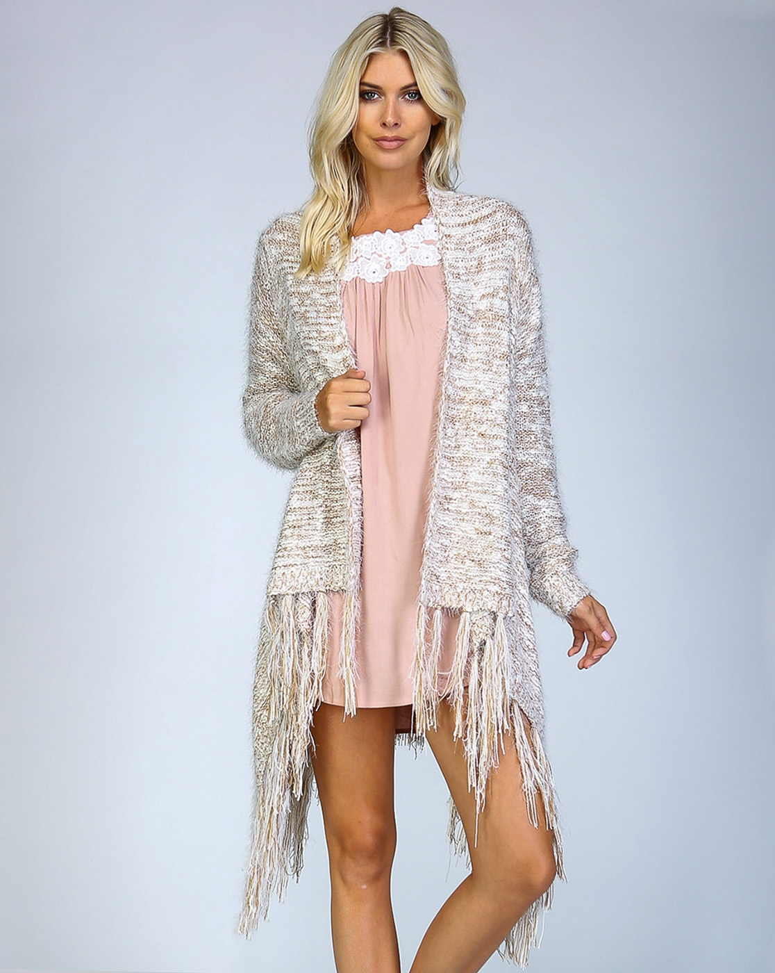 FURRY CROCHET KNIT CARDIGAN - orangeshine.com